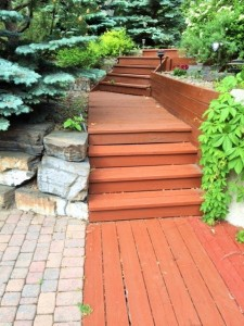 This picture depicts the garden stairs winding down towards the back yard.